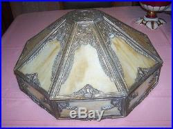 Beautiful LARGE 17 3/4 Caramel Slag Glass 8 Paneled Lamp Shade Brass Frame NICE