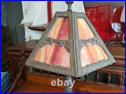 Beautiful Red/Orange Vintage Slag Glass Lamp (Shade) & Pot Metal Lamp Base