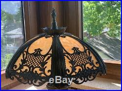 Berman Victorian Style Lamp With Slag Glass Shade 1996