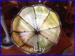 Best Curved Slag Glass Table Lamp Fancy Filigree Great Shape Parker Gorham