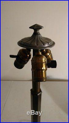 Both Signed B & H Prairie Slag Glass Lamp and shade/deco/ handel era