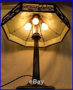 Bradley & Hubbard 4 Light Lamp-Original Bent Slag Shade-No Damage to Glass-Signe