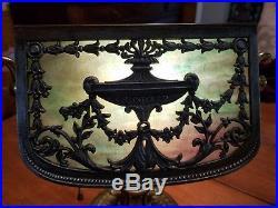 Bradley & Hubbard Antique Slag Art Glass Unique Piano Desk Student Banker Lamp