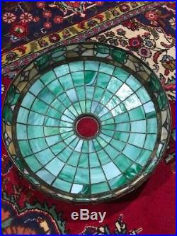 Bradley Hubbard Arts Crafts Leaded Slag Glass Antique Vintage Lamp Handel Era NR