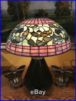 Bradley Hubbard Arts Crafts Leaded Vintage Slag Glass Lamp Tiffany Handel Era NR