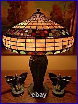 Bradley Hubbard Arts Crafts Mission Leaded Slag Glass Antique Lamp Handel Era NR
