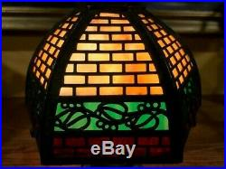 Bradley Hubbard Arts Crafts Mission Slag Glass Antique Lamp Handel Era