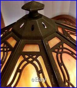 Bradley & Hubbard (B&H) Art Nouveau/ Craftsman slag glass lamp