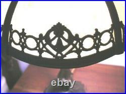 Bradley & Hubbard Bent Stained Slag Glass Antique lamp ALL ORIGINAL 3 cluster