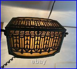 Bradley & Hubbard Circa 1900 Slag Glass Art nouveau Desk Lamp