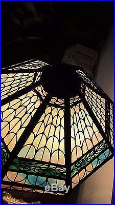 Bradley Hubbard Multi Color Slag Glass Arts Crafts Table Lamp
