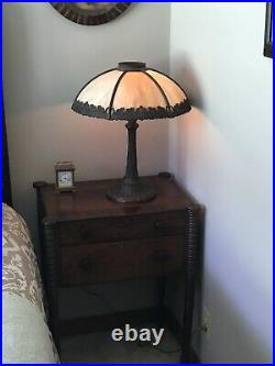 Bradley -Hubbard Six- Panel slag glass lamp