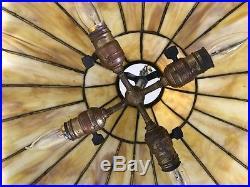 Bradley Hubbard arts crafts leaded slag glass antique hanging lamp shade Handel