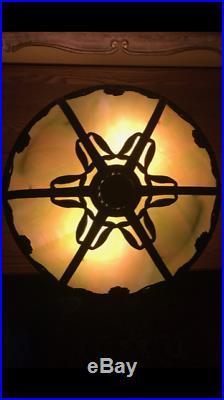 Bradley Hubbard arts crafts mission slag glass lamp Handel pairpoint era