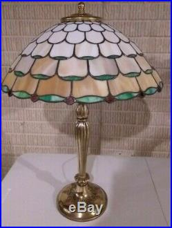 Bradley & Hubbard leaded glass lamp-Handel Tiffany Duffner arts crafts era slag