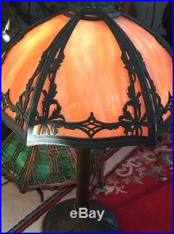 Bradley and Hubbard Lamp Co. Slag Glass Lamp Shade Signed Gorgeous Caramel Color