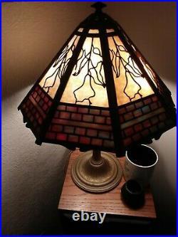 Bradley and Hubbard Slag Glass Lamp Shade Two Color 16 Panels