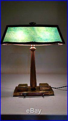 Bradley and Hubbard Writing or Calligraphy Slag Glass Table Lamp