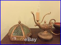 Bradley hubbard antique slag glass arts crafts mission handel era desk lamp nr