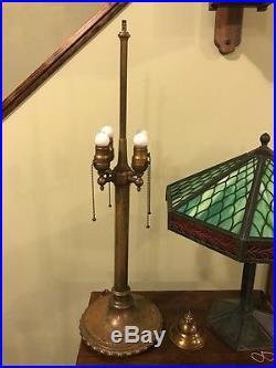 Bradley hubbard antique vintage slag glass arts crafts handel era lamp nr