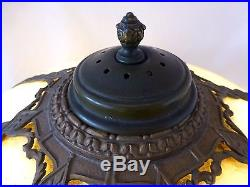 Bronze 2-Socket Lamp withAmber Slag Glass Shade. Attributed to Pittsburgh CO. 1920s