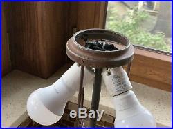 Bronze Antique Slag Glass Table Lamp