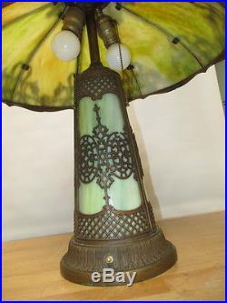 C1900 Victorian Handel Slag Silouette Overlay Lighthouse Base 23 Parlor Lamp