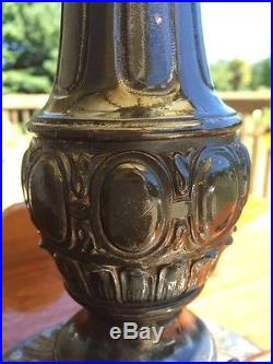C1910 Caramel Slag Glass Shade & Metal Overlay Table Lamp with decorated base