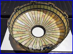 C. 1910 Stained Slag Leaded Glass Hanging Lamp 4 Pull Chain Sockets 24 in. Wide