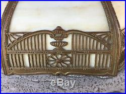 C Antique Carmel Slag Glass Curved Panel Table Lamp Shade 8 Panels