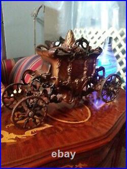 Cinderella 1920s Metal Slag Glass Mantle Table Lamp