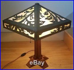 Circa 2000 Brass Oak Slag Glass Arts & Crafts Table Lamp Stickley Limbert Style