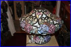 Colorful Slag Glass Table Lamp Flowers Floral Design Lamp
