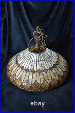 Duffner & Kimberly Hanging Light Fixture Bronze, Slag Glass