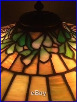 Duffner & Kimberly leaded lamp, Slag, Stained glass shade, Arts Crafts, Handel Era