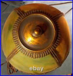 E. M. Miller Midsize Slag Glass Lamp Circa 1900-1915