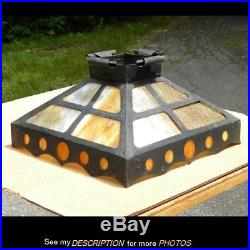 Early 1900s Mission Arts & Crafts Hanging Dome Fixture Lamp Slag Glass Shade