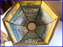 Early 1920s Filagree with slag glass lampshade gorgeous very good condition