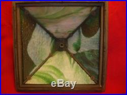 Early 20th Century Arts & Crafts Wooden Lamp Slag Glass Shade No Reserve