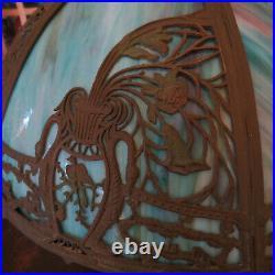 Early 20th Century Slag Glass Lamp Bradley Hubbard Handel Miller Arts & Crafts
