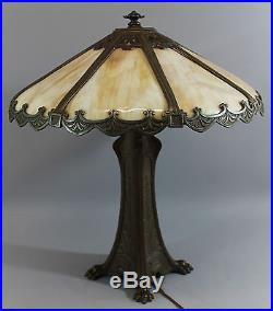 Exceptional Antique Early-20thC Aesthetic Period Slag Glass Table Lamp, NR