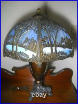 Exceptional Bent Slag Glass Art Nouveau Lamp 26 1/2 Handel Miller B & H Era