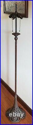 Extremely RARE Handel Leaded Slag Stained Glass Peacock FLOOR Lamp Base
