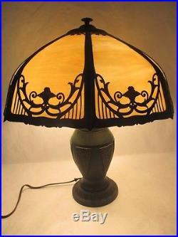 Fantastic C. 1900 Arts And Crafts Slag Glass Lamp With Original Green Patina