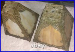 Fancy Pair Of 2 Slag Glass Arts & Crafts Vintage Caramel Lamp Shades