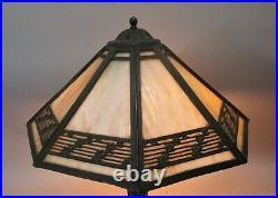 Fine BRADLEY & HUBBARD Arts & Crafts Style Slag Glass Lamp c. 1920 antique