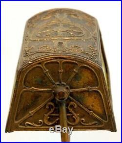 Fine Unusual Antique Slag Glass Desk Or Piano Lamp