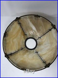 Good Quality Vtg Antique 4 Panel Curved Caramel Slag Glass Table Lamp C. 1911