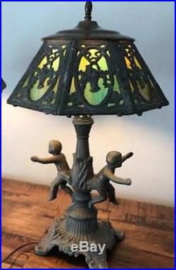 Gorgeous Antique Cherub Lamp with Slag Glass (P & H initials on shade)
