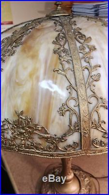Gorgeous Antique Slag Glass Tiffany Style Table Lamp 8 Panel Double Bulb